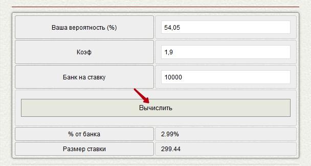 Онлайн-калькулятор расчета размера ставки