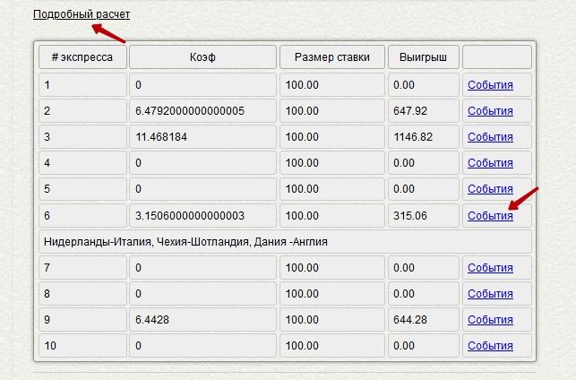 Пример расчета на калькуляторе системы экспрессов